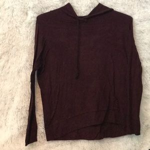 maroon hooded shirt